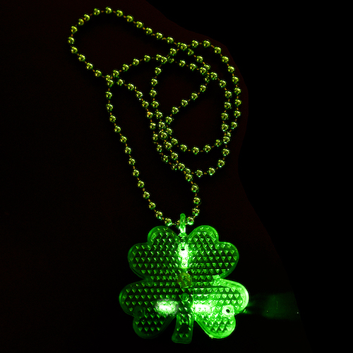 Flashing LED Shamrock Charm On Beads Necklace